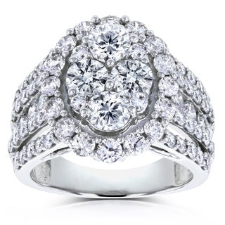 Annello by Kobelli 14k White Gold 3ct TDW Oval Cluster Round Brilliant Diamond Ring
