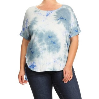 Women's Multicolor Rayon and Spandex Plus-size Tie-dye Tunic