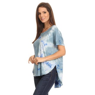 Women's Tie-dye Rayon and Spandex Keyhole Tunic