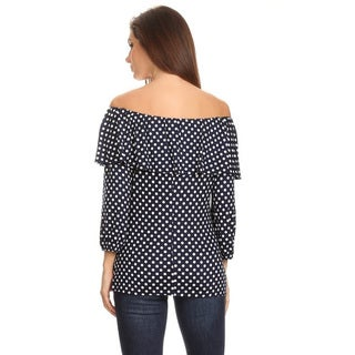 Women's Polka Dotted Flounce Rayon, Spandex Tunic