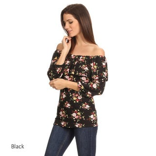 Women's Floral Flounce Rayon and Spandex Off-the-shoulder Tunic
