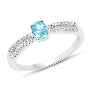 Malaika 14k White Gold 2/5ct TGW Apatite and White Diamond Accent Ring