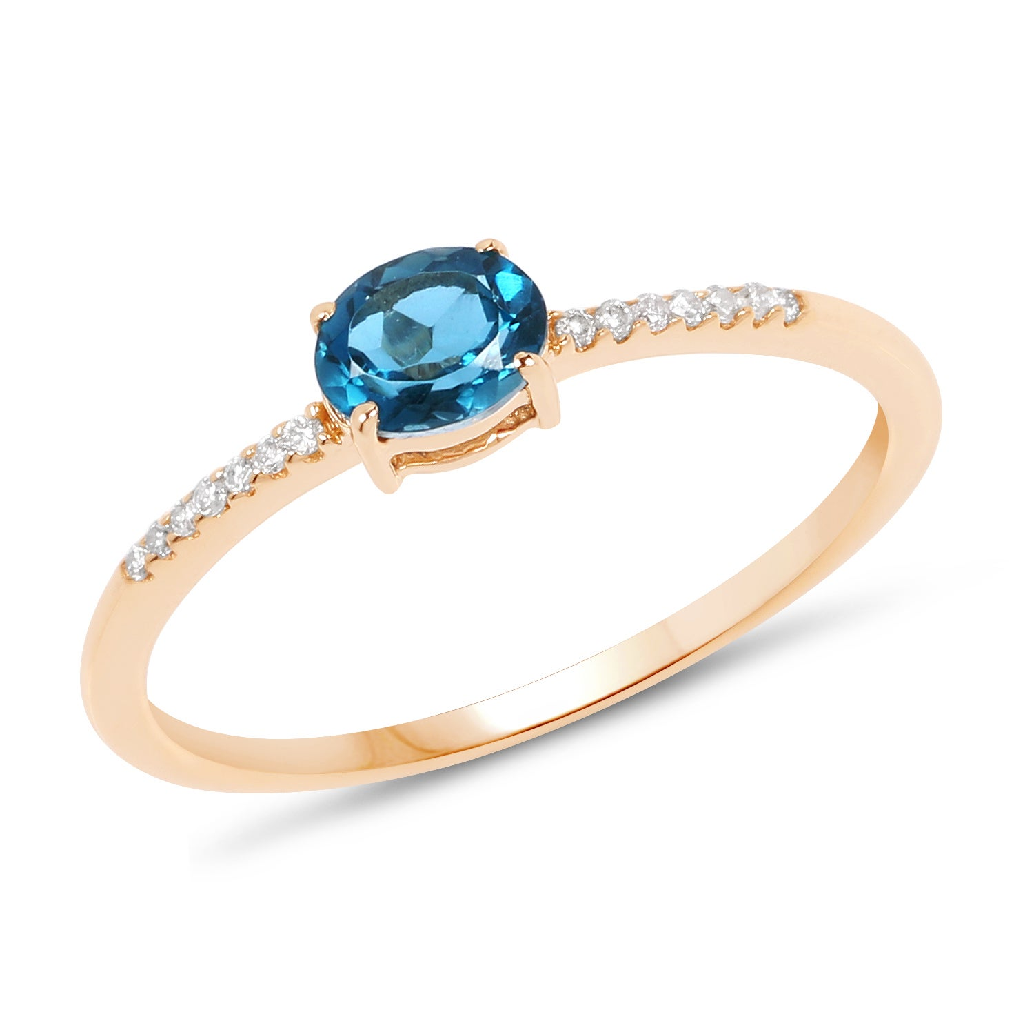 Malaika 14k Yellow Gold 1/2ct TGW London Blue Topaz and W...