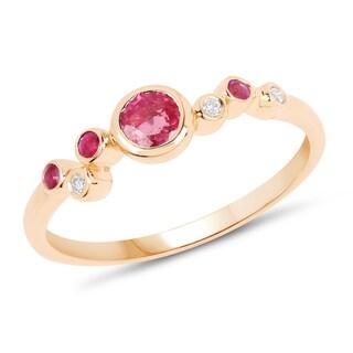 Malaika 14k Yellow Gold 2 5ct TGW Ruby And White Diamond Accent Ring Pink