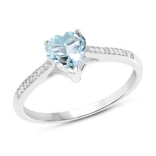 Malaika 14k White Gold 2/5ct TGW Aquamarine and White Diamond Accent Ring