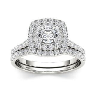 De Couer 1 1/4 ct TDW Diamond Halo Engagement Ring Set