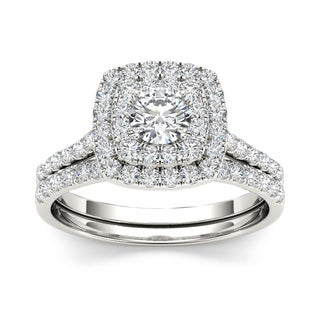 De Couer 1 1/4 ct TDW Diamond Halo Engagement Ring Set