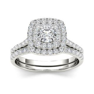 de couer 1 14 ct tdw diamond halo engagement ring set - Engagement Wedding Ring Set