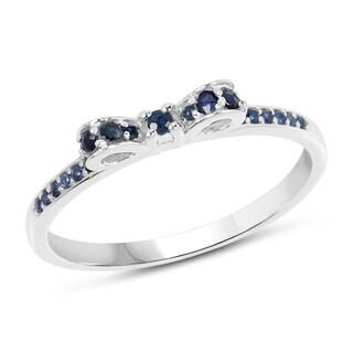 Malaika 14k White Gold 1/3ct TGW Blue Sapphire Ring