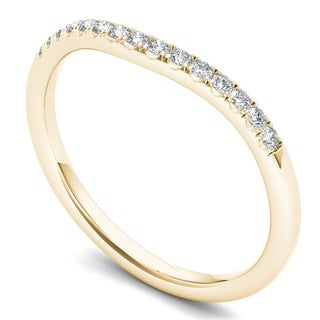 De Couer 14k Yellow Gold 1/8ct TDW Diamond Women's Wedding Band (H-I, I2)