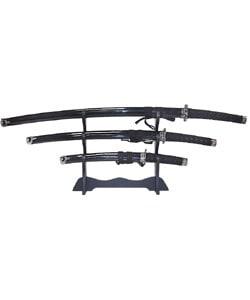 Black Belt Katana Super 3-piece Sword Set - Thumbnail 0