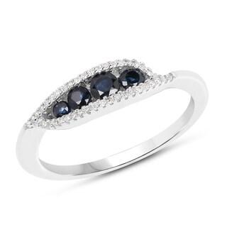 Malaika 14k White Gold 1/2ct TGW Blue Sapphire and White Diamond Accent Ring