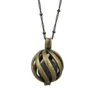 """Statement"" Antique Bronze Lava Stone Essential Oil Diffuser Necklace (30"")"
