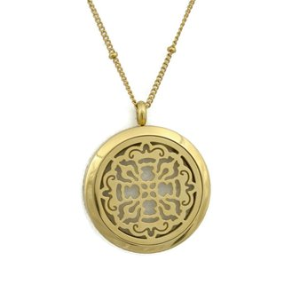 """Stainless Steel Goldtone """"Relic"""" Essential Oil Diffuser Filigree Pendant Necklace (30 inches)"""