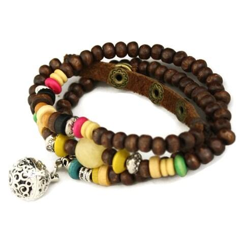 Carnival Essential Oil Diffuser Wooden Beads Triple Wrap Bracelet/ Necklace