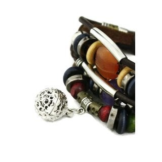 Jazzy Brown Leather 5-strand Beaded Essential Oil Diffuser Bracelet