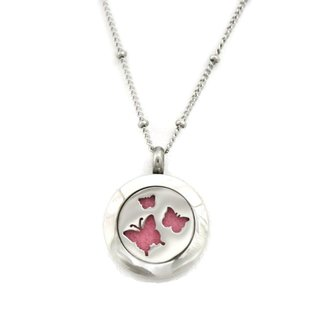 Flutter' 316L Stainless Steel Butterfly Essential Oil Diffuser 18-inch Necklace