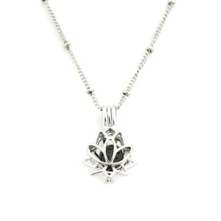 Glory 316L Stainless Steel Silver Lotus Flower Essential Oil Diffuser 18-inch Necklace