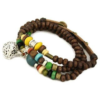 'Global' Wood Bead Essential Oil Pendant Diffuser 3-Strand Bracelet