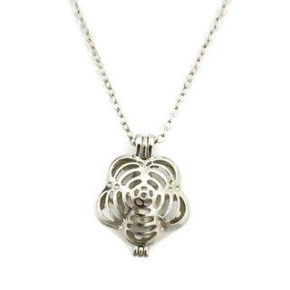 """Flip"" Silver Flower Essential Oil Diffuser Necklace (18 inch)"