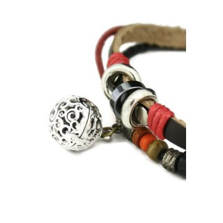 Flame Red and Brown Leather Essential Oil Diffuser Adjustable Bracelet