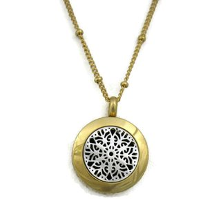"""""""Duet"""" 316L Stainless Steel Silver & Gold Essential Oil Diffuser Necklace (18 inch)"""