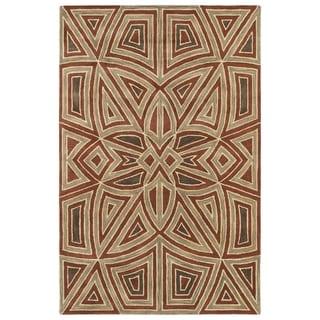Hand-Tufted Lola Mosaic Rust Glass Wool Rug - 2' x 3'
