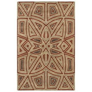Hand-Tufted Lola Mosaic Rust Glass Wool Rug (3'6 x 5'6)