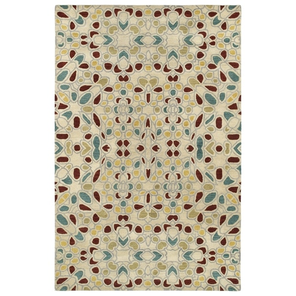 Hand-Tufted Lola Mosaic Beige Glass Wool Rug - 8' x 11'