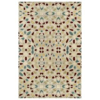 Hand-Tufted Lola Mosaic Beige Glass Wool Rug (8'0 x 11'0)