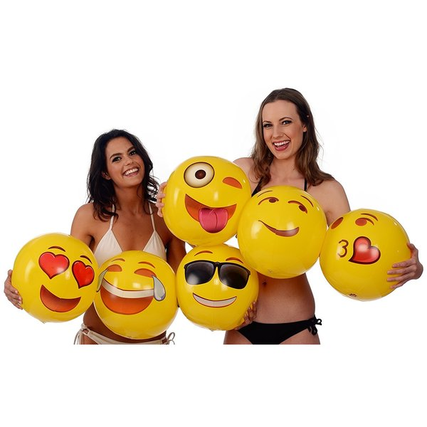 Etcbuys 18 Inch Assorted Emoji Inflatable Beach Balls - 6 Pack - Yellow