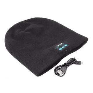 Bluetooth Beanie with Earphones Speaker and Hands-Free Mic (Option: Black)
