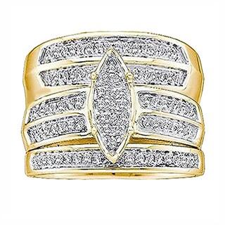 Elora 10K Yellow Gold 1/4 ct. TDW Round White Diamond Men & Women's Micro Pave Engagement Ring Trio Set (I-J, I1-I2)