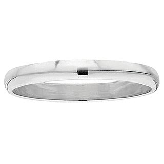 Elora 14k White Gold 3mm Unisex Domed Plain-polished Traditional-fit Wedding Band