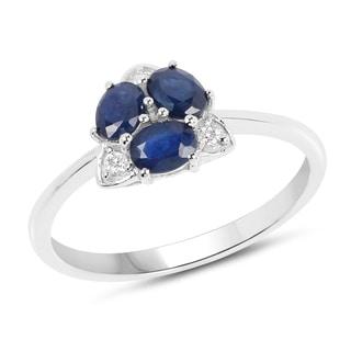 Malaika 14k White Gold 3/4ct TGW Blue Sapphire and White Diamond Accent Ring