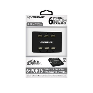 Xtreme 4.8Amp 6-port Ultra High-speed USB Power Station Charger