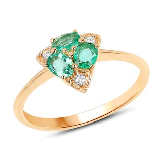 Malaika 14k Yellow Gold 1/2ct TGW Zambian Emerald and White Diamond Accent Ring