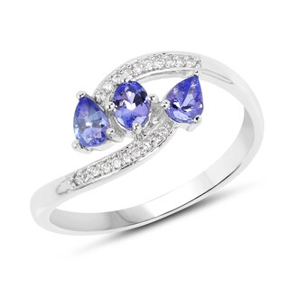 Malaika 14k White Gold 1/2ct TGW Tanzanite and White Diamond Accent Ring