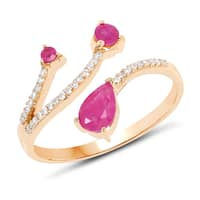 Malaika 14k Yellow Gold 3/4ct TGW Ruby and White Diamond Accent Ring - Pink