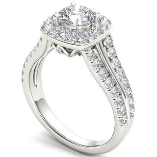 De Couer 14k White Gold 1 1/2 ct TDW Diamond Halo Ring (H-I, I2)