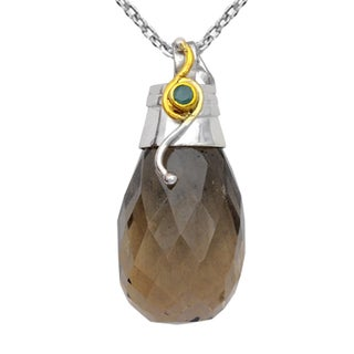 Orchid Jewelry Two-tone 925 Silver 60 1/9 Carat Smoky Quartz and Emerald Faceted Drop Pendant