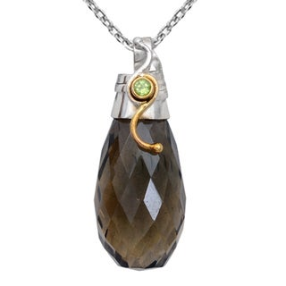 Orchid Jewelry Two-tone 925 Silver 54 1/7 Carat Smoky Quartz and Peridot Faceted Drop Pendant