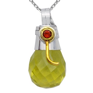 Orchid Jewelry Two-tone 925 Silver 17 1/7 Carat Lemon Topaz and Garnet Faceted Drop Pendant