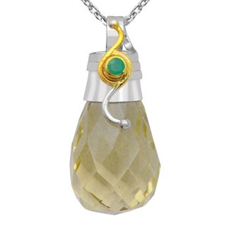 Orchid Jewelry Two-tone 925 Silver 45 1/7 Carat Lemon Topaz and Emerald Faceted Drop Pendant