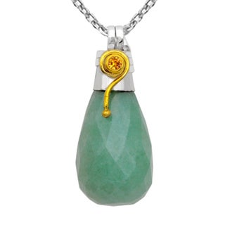 Orchid Jewelry Handcrafted Two-tone 925 Silver 29 1/9 Carat Jasper and Citrine Drop Pendant