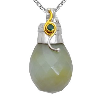 Orchid Jewelry Handcrafted Two-tone 925 Silver 56 1/9 Carat Botswana Agate and Emerald Drop Pendant