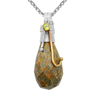 Orchid Jewelry Handcrafted Two-tone 925 Silver 32 1/7 Carat Jasper and Peridot Drop Pendant