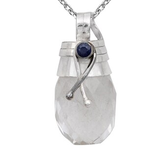 Orchid Jewelry Handcrafted Two-tone 925 Silver 25 1/7 Carat Crystal Quartz and Blue Sapphire Drop Pendant