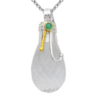 Orchid Jewelry Two-tone 925 Silver 35 1/9 Carat Crystal Quartz and Emerald Pendant