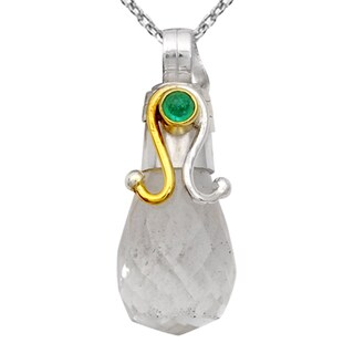 Orchid Jewelry Two-tone 925 Silver 15 Carat Crystal Quartz and Emerald Pendant